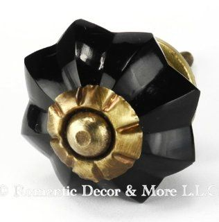 Black Melon Glass Cabinet Knobs, Drawer Pulls & Handles Set/2pc ~ K179RL Classic Old French Vintage Melon Style Glass Knobs with Antique Brass Hardware for Cabinets, Dressers, Kitchen Cabinets and Cupboards   Cabinet And Furniture Knobs