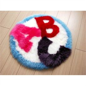 Bowron Round ABC Sheepskin Fun Rug  Kids Rugs