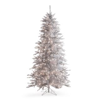 7.5 ft. Layered White and Silver Frasier Fir Prelit Christmas Tree   Christmas Trees