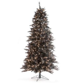 7.5 ft. Layered Black and Silver Frasier Fir Prelit Christmas Tree   Christmas Trees