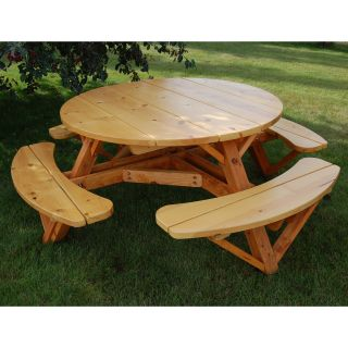Moon Valley Cedar Works 56 in. Round Picnic Table Set   Picnic Tables