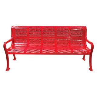 8 ft. Multicolor Perforated Commercial Grade Personalized Park Bench   Commercial Benches