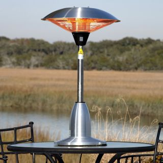Fire Sense Stainless Steel Table Top Round Halogen Patio Heater   Electric Patio Heaters