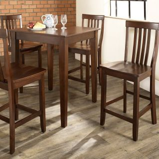 Crosley 5 Piece Pub High Dining Set with Tapered Leg and School House Stools   Indoor Bistro Sets
