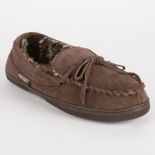 MUK LUKS Men's Printed Berber Suede Moccasin Slippers in Chocolate   Mens Slippers