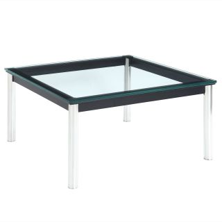 Modway Le Corbusier Square Metal Glass Top End Table   End Tables