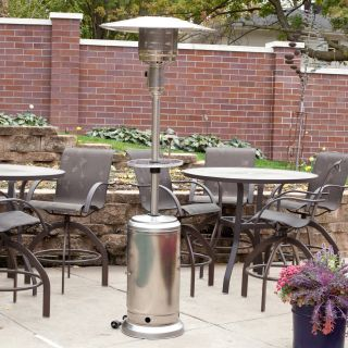 Fire Sense Stainless Steel Patio Heater with Adjustable Table   Patio Heaters