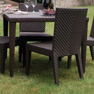 Hospitality Rattan Soho 40 in. Square Woven Patio Dining Table   Rehau Fiber Java Brown   Patio Tables