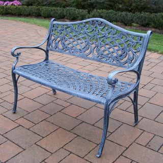 Oakland Living Mississippi Cast Aluminum Settee Bench in Verdi Grey Finish   Outdoor Benches