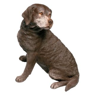 Sandicast Original Size Chocolate Labrador Retriever Sculpture   Garden Statues