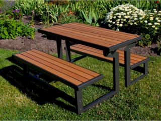 Lifetime Products Wood Grain Convertible Folding Picnic Table   Picnic Tables