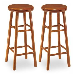 Winsome Wood 31 Inch Charger Swivel Seat Bar Stool   Set of 2   Bar Stools