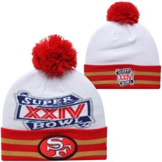 New Era San Francisco 49ers Super Bowl XXIV Commemorative Super Wide Point Knit Beanie   White/Scarlet/Gold