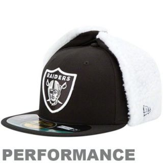 New Era Oakland Raiders On Field Dog Ear 59FIFTY Fitted Performance Hat   Black