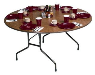 Correll Round Melamine Folding Table   Brown   Daycare Tables & Chairs
