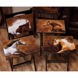 Dawson Horse TV Trays with Stand   Set of 4   TV Trays