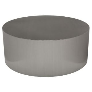 Nuevo Piston Round Stainless Metal Coffee Table   Modern Coffee & Accent Tables