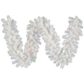 Vickerman 9 ft. Pre Lit LED Crystal White Garland   Christmas Garland