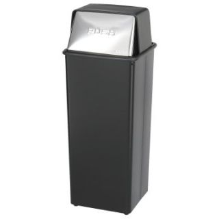 Safco Push Top Black and Chrome Metal 21 Gallon Commercial Trash Can   Trash Cans