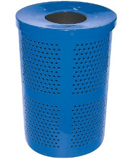 Leisure Craft 32 Gallon Perforated Trash Receptacle with Liner and Lid   Trash Cans