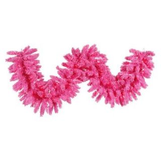Vickerman 9 ft. Flocked Pink Pre lit Garland   Christmas Garland