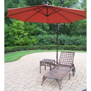 Oakland Living Elite Cast Aluminum Chaise Lounge Set with Cantilever Umbrella   Outdoor Chaise Lounges
