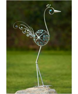 Exhart 60 in. Pewter Filigree Bird  Blue Beads   Outdoor Sculptures and Statues