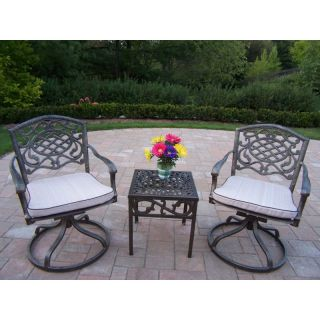 Oakland Living Mississippi Cast Aluminum Swivel Rocker Set   Antique Bronze   Conversation Patio Sets