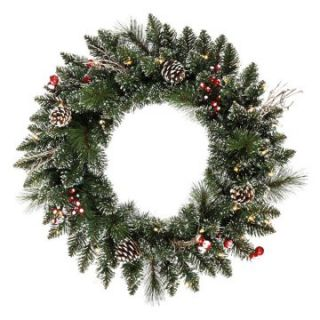 Vickerman 24 in. Pre Lit Snow Tip Pine and Berry Wreath   Christmas Wreaths
