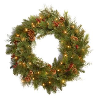 30 in. Decorative Collection Pre Lit Christmas Wreath with Red Berries and Pine Cones   Battery Operated   Christmas Wreaths
