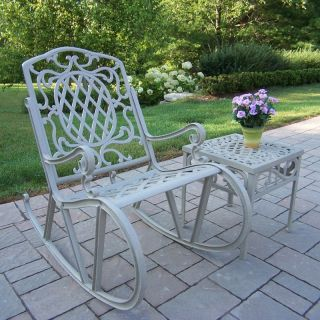 Oakland Living Mississippi Cast Aluminum Rocking Chair Set   Beach Sand   Outdoor Rocking Chairs