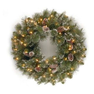 24 in. Glittery Pine Pre Lit Christmas Wreath with Pine Cones   Christmas Wreaths