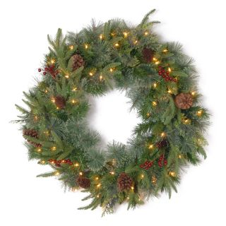 30 in. Feel Real Colonial Pre Lit Christmas Wreath with Berries and Pine Cones   Christmas Wreaths