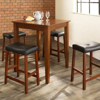 Crosley 5 Piece Pub Dining Set with Tapered Leg and Upholstered Saddle Stools   Indoor Bistro Sets