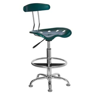 Vibrant Drafting Stool with Tractor Seat   Green and Chrome   Drafting Chairs & Stools