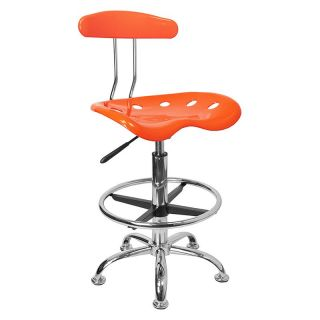 Vibrant Drafting Stool with Tractor Seat   Orange and Chrome   Drafting Chairs & Stools