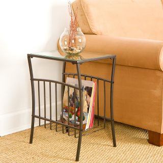 Southern Enterprises Contemporary Black Metal Magazine Table   End Tables