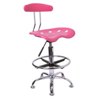 Vibrant Drafting Stool with Tractor Seat   Pink and Chrome   Drafting Chairs & Stools