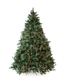 Classic Full Pre lit Christmas Tree with Berries and Pine Cones   7.5 ft.   Clear   Christmas
