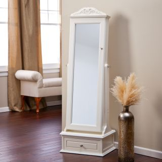 Belham Living Removable Decorative Top Locking Mirrored Cheval Jewelry Armoire   Off White   Floor Mirrors
