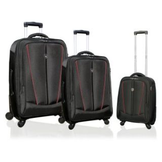 Travelers Club 3 Piece Heavy Duty Luggage Set with 4 Wheel System   Black/Red   Luggage Sets