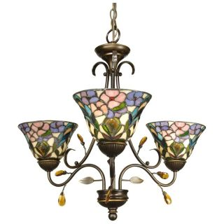Dale Tiffany 3 Light Crystal Peony Fixture Pendant   Tiffany Ceiling Lighting