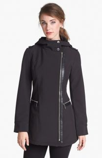 MICHAEL Michael Kors Faux Leather Trim Soft Shell Jacket (Regular & Petite)