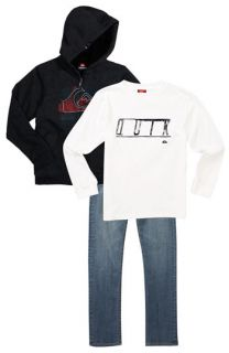 Quiksilver Banks Hoodie, High Roller Long Sleeve T Shirt & Rolling Bones Skinny Jeans (Big Boys)