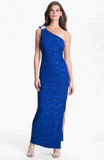 Hailey by Adrianna Papell One Shoulder Sequin Lace Gown (Online Exclusive)