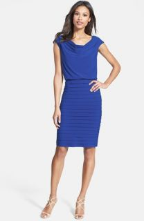 Adrianna Papell Blouson Shutter Pleat Jersey Dress