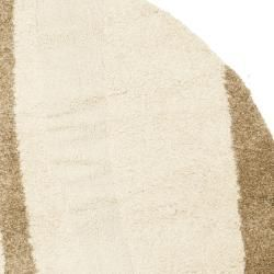"Ultimate Cream/Dark Brown Casual Shag Rug (6'7"" Round) Safavieh Round/Oval/Square"
