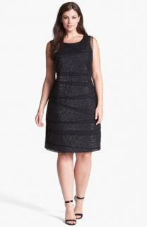 Patra Beaded Mesh Sheath Dress (Plus Size)
