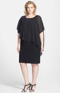 Betsy & Adam Chiffon Overlay Shutter Pleat Sheath Dress (Plus Size)