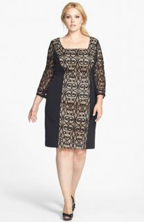 Adrianna Papell Lace & Ponte Knit Sheath Dress (Plus Size)
